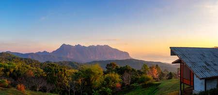Beautiful Panoramic scenery in the morning Doi luang chiang dao with a sea of mist at Doi mae taman san pa kia chiang mai thailand.