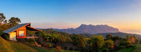 Beautiful Panoramic scenery in the morning with a sea of mist at Doi mae taman san pa kia chiang mai thailand.
