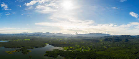 Aerial view over Mae Chang Reservoir, Mae Moh, Lampang, Thailand, panorama - Drone.