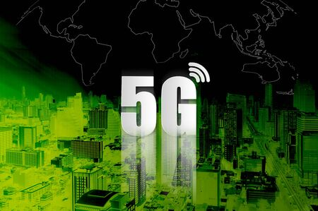 5G Network Internet Mobile, Smart city and communication network, Connect global wireless devices, Concept of 5G network, High-speed mobile Internet, New generation networks. Mixed media.