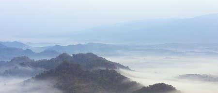 fog on mountain mae moh lampang in winter.