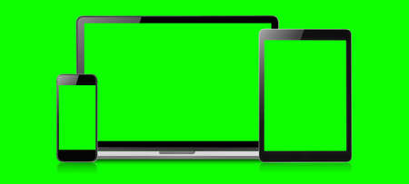 Mockup image of Laptop, tablet and mobile blank green screen in vertical position isolated on green background, Concept device mockup. Stock Photo