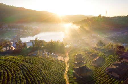 Aerial view Sunrise at Lee wine Rak Thai,Ban Rak Thai a Chinese settlement, Mae Hong Son, province Northern Thailand. Stock Photo