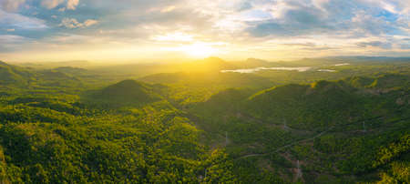 Aerial view, Beautiful  Panorama landscape sunset over peak Mountain with warm light Mae Moh  Lampang, Thailand.