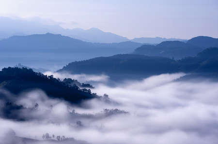 Beautiful morning fog in the valley of northern Thailand, Mae Hong Son, Ban Ja Bo.