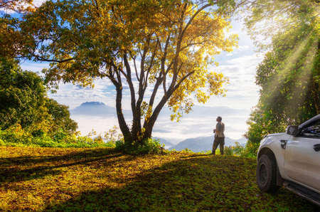 Travelers with natural scenery in the morning at Huai Nam Dang National Park, Thailand.