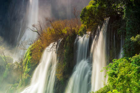 Thi Lo Su Waterfall, Beautiful waterfall in deep forest, Umphang National Park, Tak Province, Thailand. Stock Photo