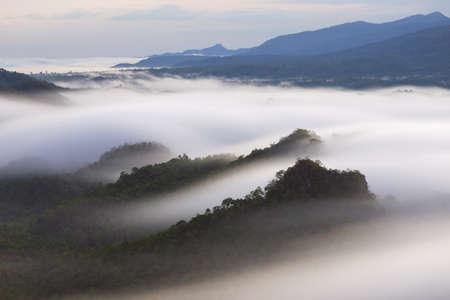 Beautiful mist over green forest on mountain, Aerial view sunrise over the mountain range at the north of thailand, Beauty rainforest landscape with fog in morning.
