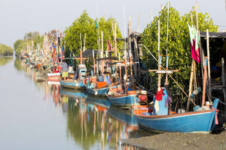 shrimp boat: Fishing boats in the water Stock Photo