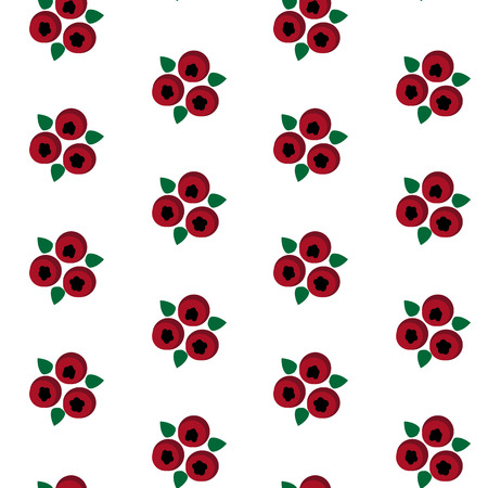 Cowberry with leaf red berries pattern seamless vector illustration. Illustration