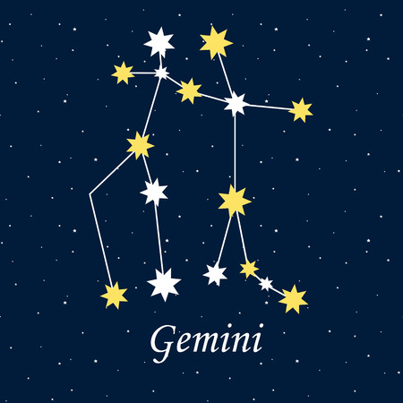Constellation Gemini zodiac horoscope, astrology stars night vector illustration.