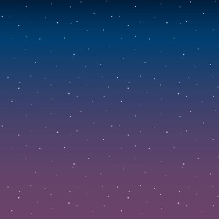 Space with stars night sky before sunrise pink vector. Vettoriali
