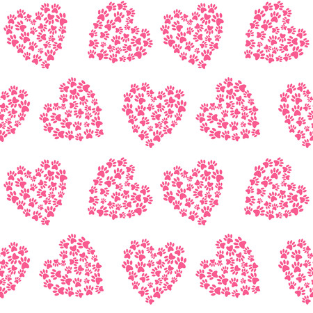 pink heart from traces of paws footprint love pattern seamless vector.
