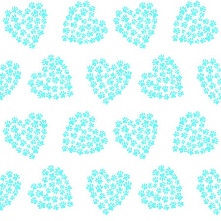 Blue heart from traces of paws footprint love pattern seamless vector.