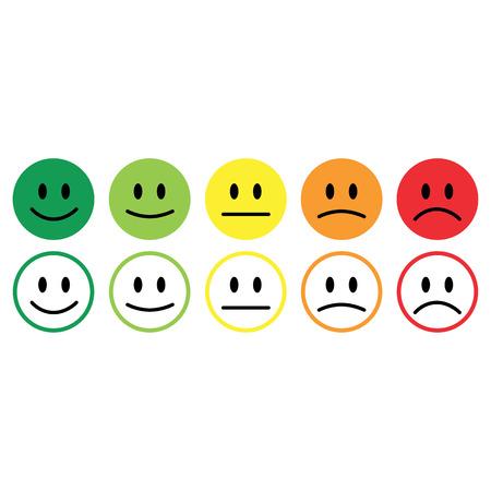 Five smile icon emotions satisfaction rating feedback vector.