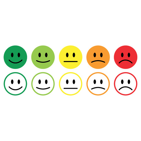 Five smile icon emotions satisfaction rating feedback vector.