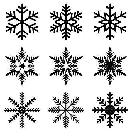 Nine black snowflakes set icon winter crystal snow vector.  イラスト・ベクター素材
