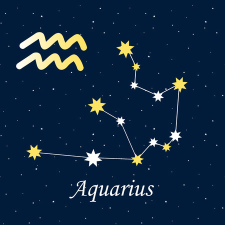 Constellation Aquarius zodiac horoscope astrology stars night illustration vector.
