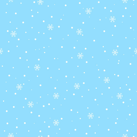 Snowflakes snow on blue sky winter christmas pattern seamless vector.
