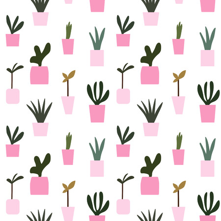 pink flower pot potted plants pattern seamless vector.