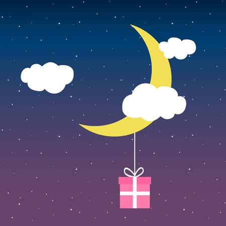 cloud moon stars gift on a thread card vector. Vettoriali