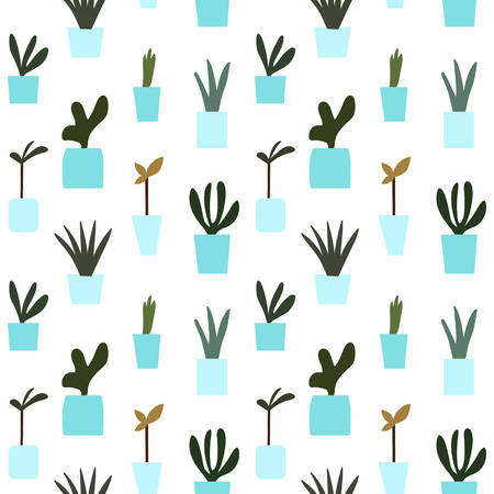 blue flower pot potted plants pattern seamless vector. Vettoriali