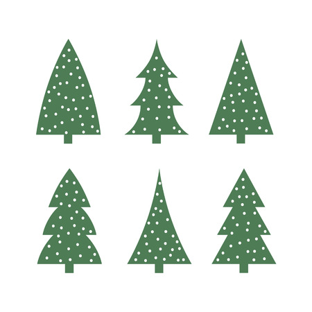 cute green christmas tree in the snow icon silhouette set vector.