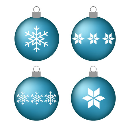 set volume blue christmas balls with snowflakes star vector. Vettoriali
