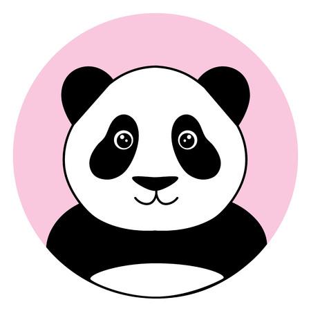 cute panda in the pink circle illustration vector.