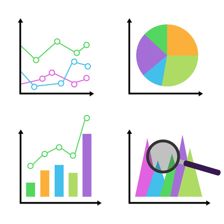colorful diagrams and graphs icon set business vector.