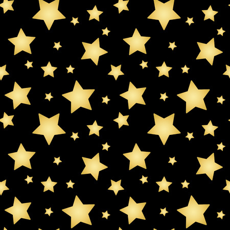 gold stars on a black background pattern seamless vector. Vettoriali