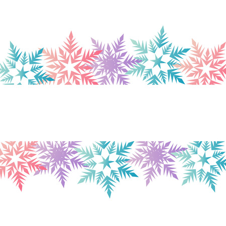 winter banner colorful pastel pink blue purple snowflakes place for text vector. Vettoriali