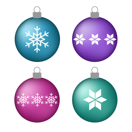 set volume blue purple pink turquoise christmas balls with snowflakes star vector.