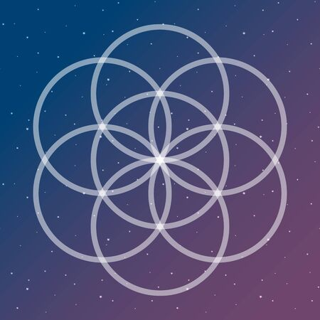 Flower of life symbol on a cosmic interlocking circles space sacred geometry psychedelic vector. Illustration
