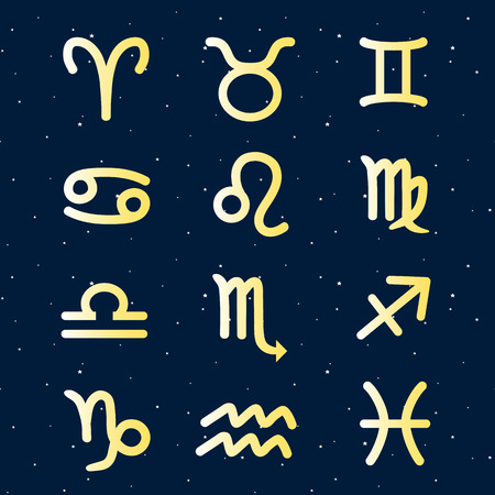A gold twelve zodiac in the sky night star signs icon set vector.