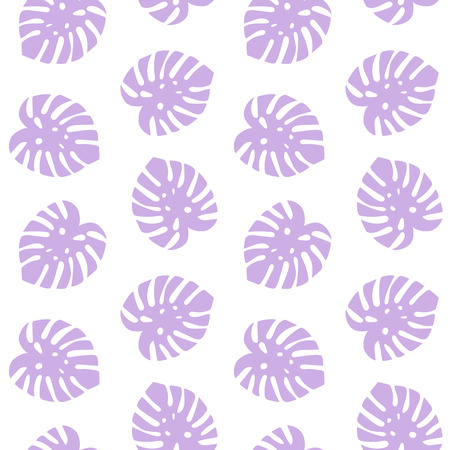 monstera purple leaves tropical summer paradise pattern on a white background seamless vector. Vettoriali