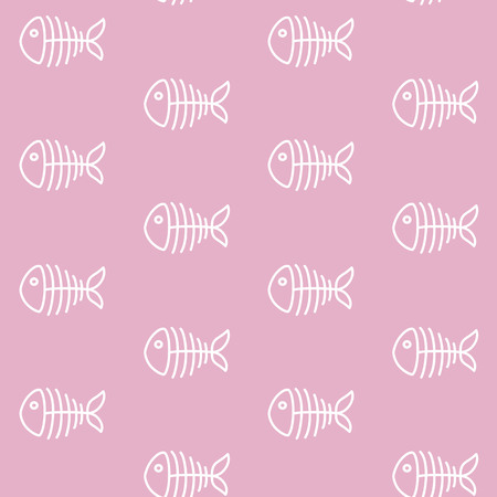 white fish skeleton on a pink background marine sea bone pattern seamless vector. Vettoriali