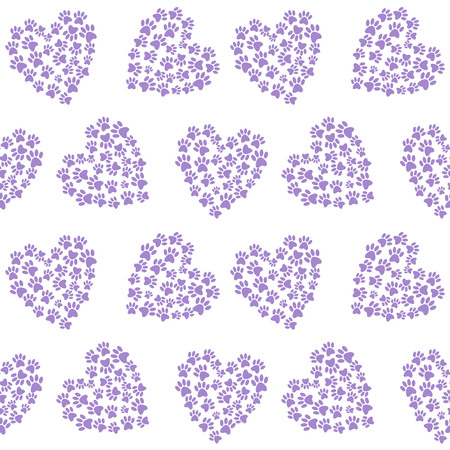purple heart from traces of paws footprint love pattern seamless vector.
