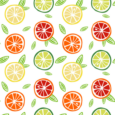 fruit yellow lemon green lime orange red grapefruit  with green leaves citrus tropical summer on a white background pattern seamless vector.