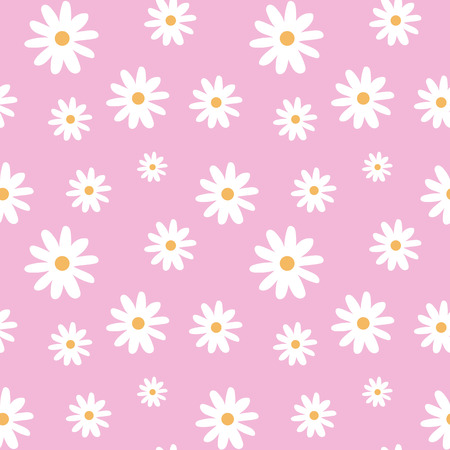 chamomile on a light pink pastel background pattern seamless vector.