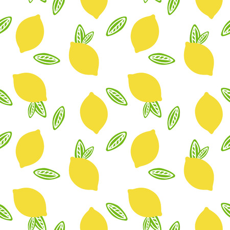 fruit lemon with green leaves citrus summer on a white background pattern seamless vector.