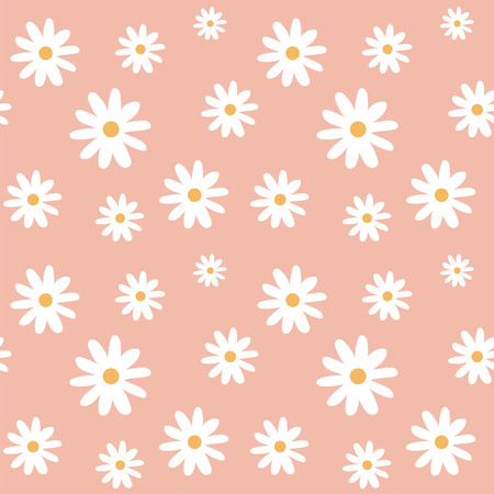 chamomile on a light peach color pastel background pattern seamless vector.