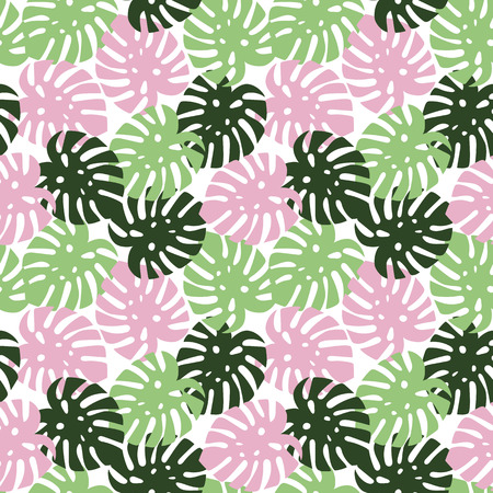 monstera pink, light green and dark green leaves tropical summer paradise pattern on a white background seamless vector. Vettoriali