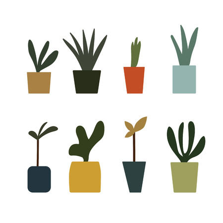 colorful flower pot potted plants set icon vector.