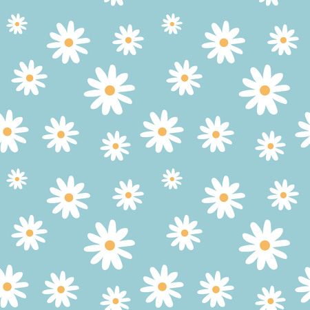 chamomile on a light blue color pastel background pattern seamless vector.