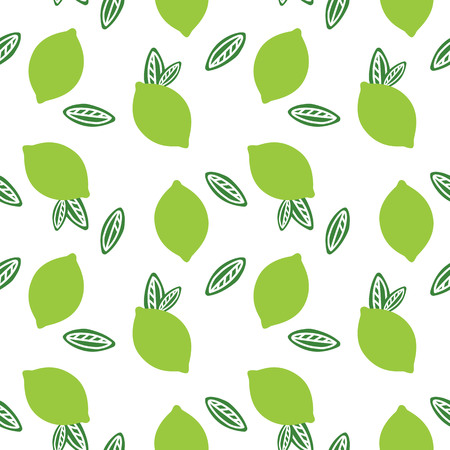 green fruit lime with green leaves citrus summer on a white background pattern seamless vector.