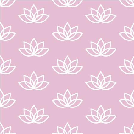 white lotus on a pink background zen pattern seamless vector. Vettoriali