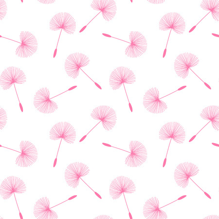 pink dandelions seed floral fluff pattern on a white background seamless vector.
