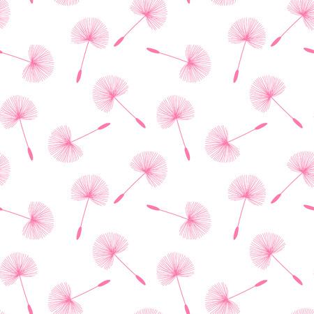 rosa diente de león semillas patrón de la pelusa del punto en un fondo blanco sin fisuras vector . Ilustración de vector