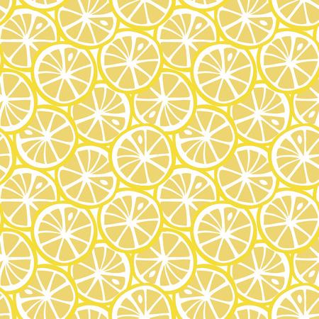 fruit yellow lemon citrus tropical summer pattern seamless vector. Vettoriali